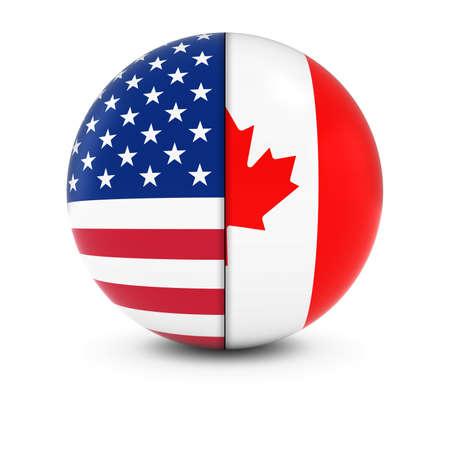 Amerikaanse en Canadese Flag Ball - Split Vlaggen van de Verenigde Staten en Canada Stockfoto