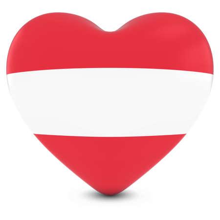 austrian flag: Love Austria Concept Image - Heart textured with Austrian Flag