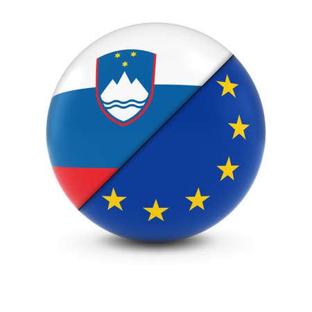 slovenian: Slovenian and European Flag Ball - Split Flags of Slovenia and the EU