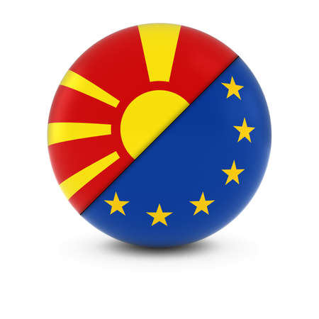 macedonian: Macedonian and European Flag Ball - Split Flags of Macedonia and the EU