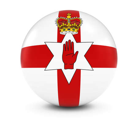 northern ireland: Ulster Flag Ball - Ulster Flag of Northern Ireland on Isolated Sphere