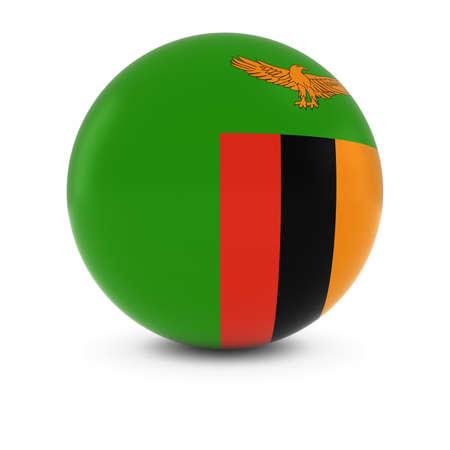 zambian flag: Zambian Flag Ball - Flag of Zambia on Isolated Sphere Stock Photo