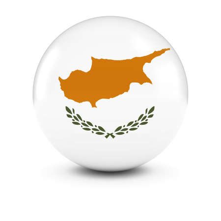 three dimensional   shape: Cypriot Flag Ball - Flag of Cyprus on Isolated Sphere