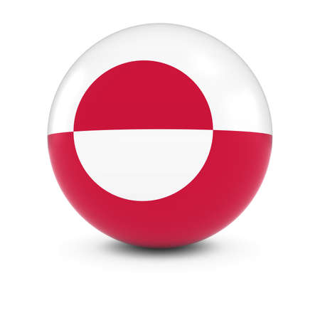 greenland: Greenlandic Flag Ball - Flag of Greenland on Isolated Sphere