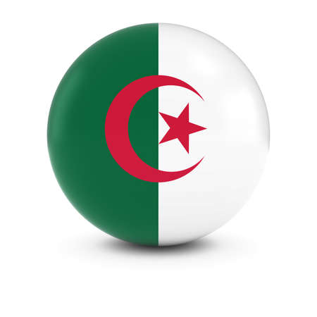 algerian flag: Algerian Flag Ball - Flag of Algeria on Isolated Sphere