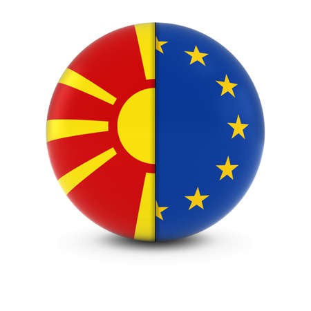 macedonian flag: Macedonian and European Flag Ball - Split Flags of Macedonia and the EU