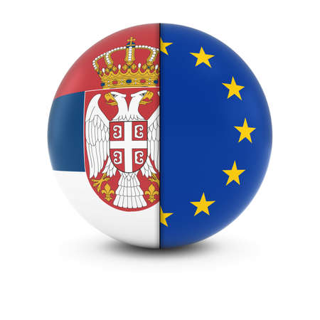 serbian: Serbian and European Flag Ball - Split Flags of Serbia and the EU Stock Photo