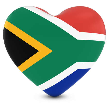 south african: Love South Africa Concept Image - Heart textured with South African Flag