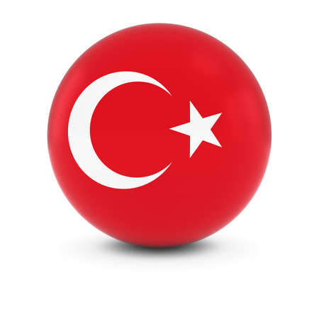 turkish flag: Turkish Flag Ball - Flag of Turkey on Isolated Sphere Stock Photo