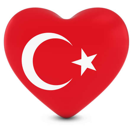 turkish flag: Love Turkey Concept Image - Heart textured with Turkish Flag