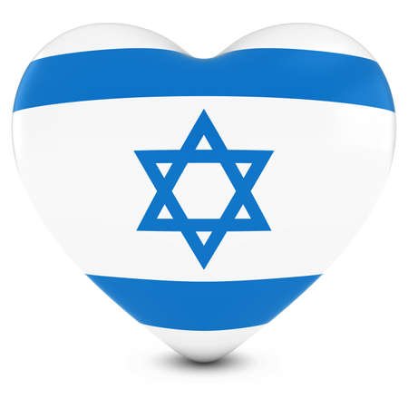israeli: Love Israel Concept Image - Heart textured with Israeli Flag Stock Photo