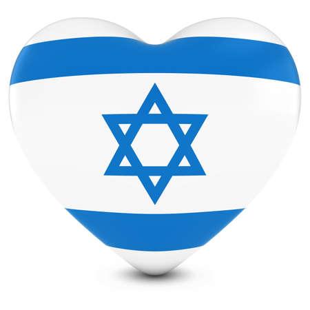 israeli flag: Love Israel Concept Image - Heart textured with Israeli Flag Stock Photo