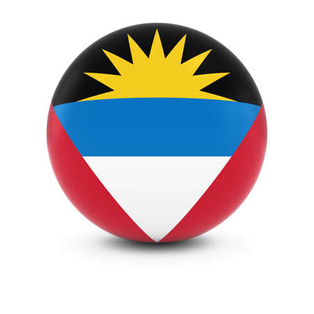 antigua: Antiguan and Barbudan Flag Ball - Flag of Antigua and Barbuda on Isolated Sphere