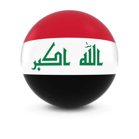 iraqi: Iraqi Flag Ball - Flag of Iraq on Isolated Sphere Stock Photo