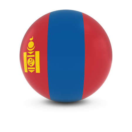 three dimensional   shape: Mongolian Flag Ball - Flag of Mongolia on Isolated Sphere