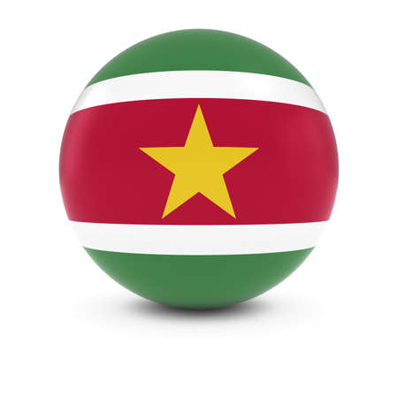 suriname: Surinamese Flag Ball - Flag of Suriname on Isolated Sphere Stock Photo
