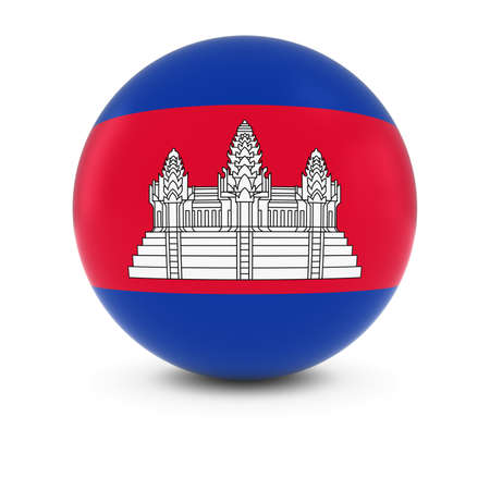 cambodian flag: Cambodian Flag Ball - Flag of Cambodia on Isolated Sphere