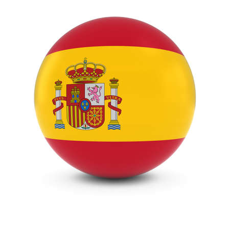 Spanish Flag Ball - Flag of Spain on Isolated Sphere Stock Photo - 55629057
