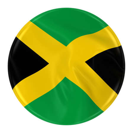 jamaican flag: Waving Jamaican Flag Badge - Button textured with the Flag of Jamaica Isolated on White