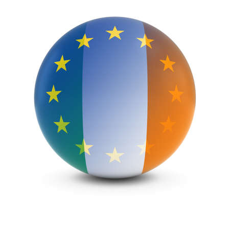 fading: Irish and European Flag Ball - Fading Flags of Ireland and the EU Stock Photo