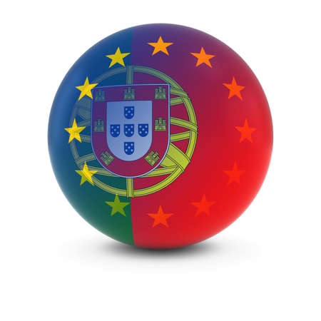 fading: Portuguese and European Flag Ball - Fading Flags of Portugal and the EU Stock Photo