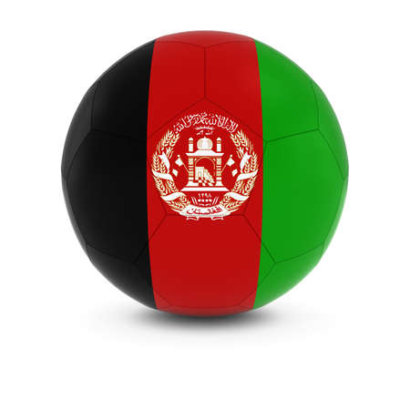 afghan: Afghanistan Football - Afghan Flag on Soccer Ball Stock Photo