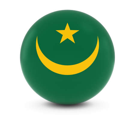 mauritania: Mauritanian Flag Ball - Flag of Mauritania on Isolated Sphere Stock Photo