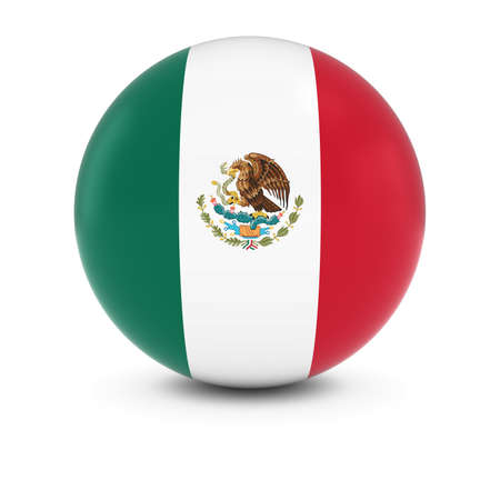 mexican flag: Mexican Flag Ball - Flag of Mexico on Isolated Sphere
