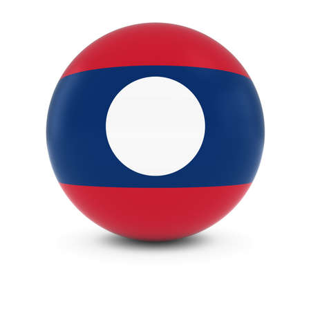 laotian: Laotian Flag Ball - Flag of Laos on Isolated Sphere