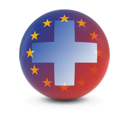 fading: Swiss and European Flag Ball - Fading Flags of Switzerland and the EU Stock Photo