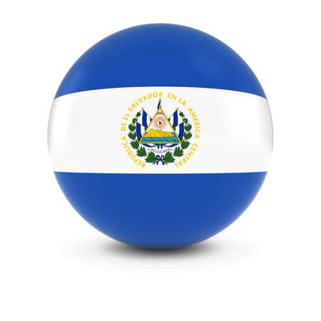 el salvadoran: Salvadoran Flag Ball - Flag of El Salvador on Isolated Sphere Stock Photo