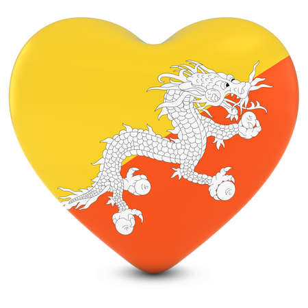 love image: Love Bhutan Concept Image - Heart textured with Bhutanese Flag Stock Photo