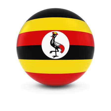 ugandan: Ugandan Flag Ball - Flag of Uganda on Isolated Sphere