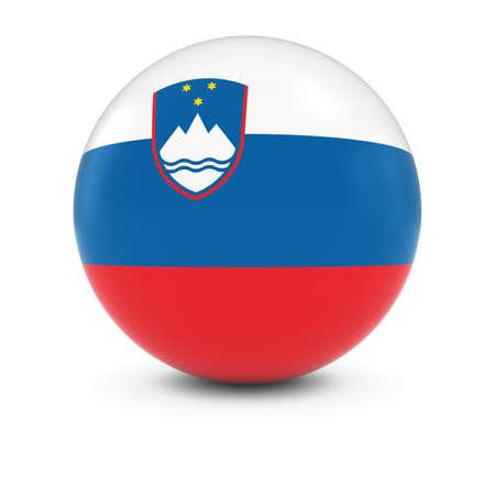 slovenian: Slovenian Flag Ball - Flag of Slovenia on Isolated Sphere Stock Photo
