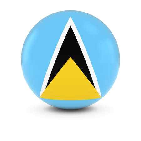 lucia: Saint Lucian Flag Ball - Flag of Saint Lucia on Isolated Sphere Stock Photo
