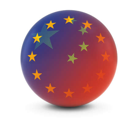 fading: Chinese and European Flag Ball - Fading Flags of China and the EU