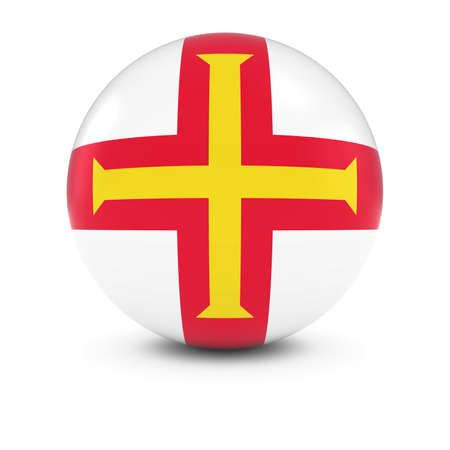 guernsey: Guernsey Flag Ball - Flag of Guernsey on Isolated Sphere Stock Photo