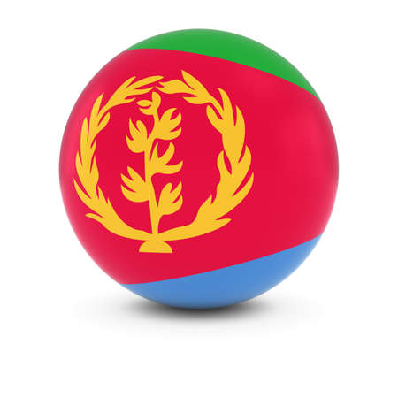 three dimensional shape: Eritrean Flag Ball - Flag of Eritrea on Isolated Sphere Stock Photo