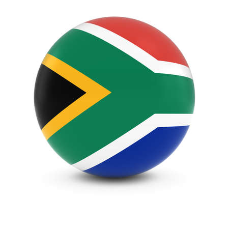 south african: South African Flag Ball - Flag of South Africa on Isolated Sphere