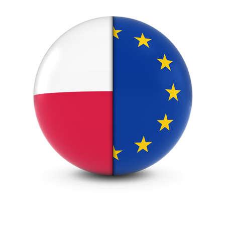 polish flag: Polish and European Flag Ball - Split Flags of Poland and the EU