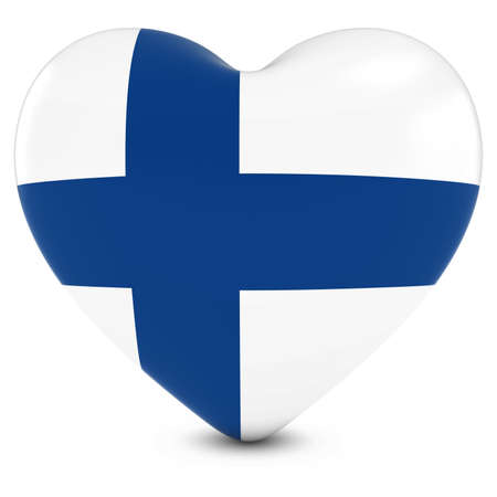 finnish: Love Finland Concept Image - Heart textured with Finnish Flag