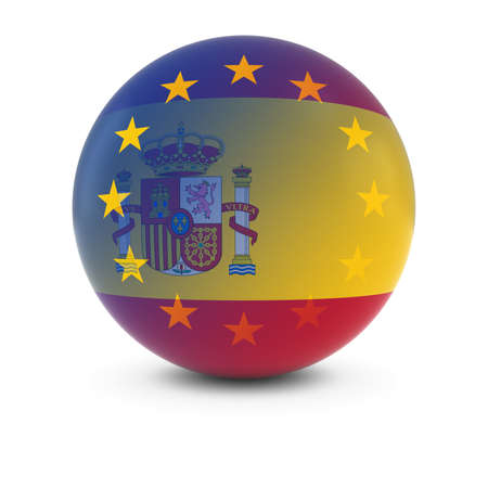 merge together: Spanish and European Flag Ball - Fading Flags of Spain and the EU