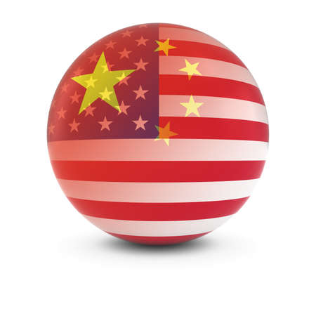 merge together: Chinese and American Flag Ball - Fading Flags of China and the USA