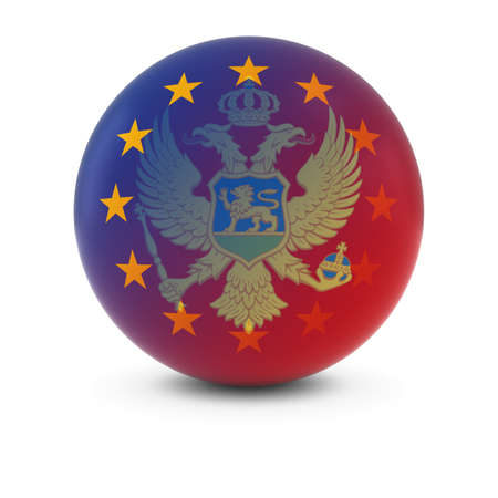 fading: Montenegrin and European Flag Ball - Fading Flags of Montenegro and the EU