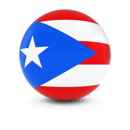 bandera de puerto rico: Bola de la bandera de Puerto Rico - Bandera de Puerto Rico en la esfera aislada Foto de archivo