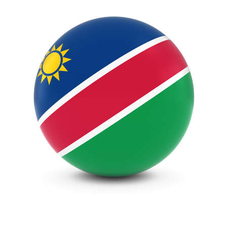 three dimensional   shape: Namibian Flag Ball - Flag of Namibia on Isolated Sphere Stock Photo