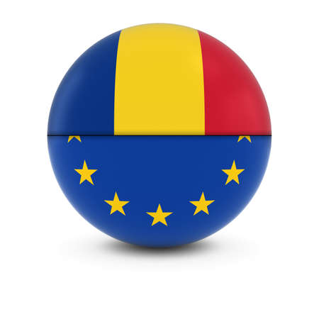 romanian: Romanian and European Flag Ball - Split Flags of Romania and the EU