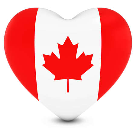 canadian flag: Love Canada Concept Image - Heart textured with Canadian Flag Stock Photo
