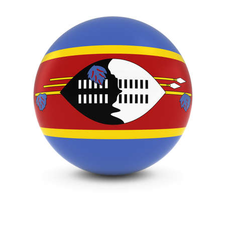 three dimensional shape: Swazi Flag Ball - Flag of Swaziland on Isolated Sphere Stock Photo