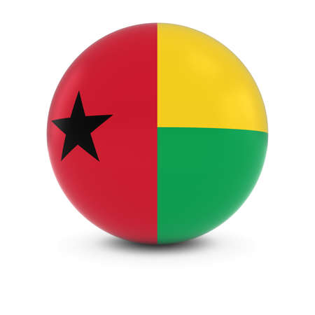 three dimensional shape: Bissau-Guinean Flag Ball - Flag of Guinea-Bissau on Isolated Sphere
